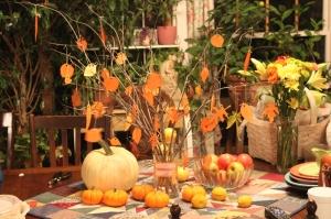 Thankful Tree table fruit pumpkins 10292013